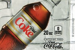 Large Diet Coke Caffeine Free Bottle Flavor Drink Labels
