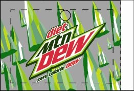 Large Diet Mountain Dew Line Art Flavor Drink Labels