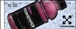 Small Powerade Ion Grape 12 oz. Bottle Flavor Drink Labels