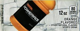 Small Powerade Ion Orange 12 oz. Bottle Flavor Drink Labels