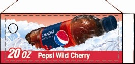 Small Pepsi Wild Cherry Bottle Flavor Drink Labels | Small Vending Machine Flavor Strips
