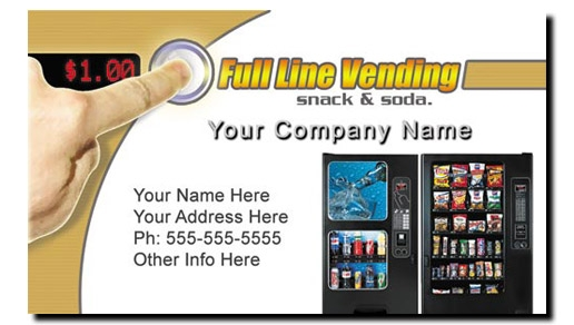 Vending Machine Business Cards - Full Color Snack & Soda Route Vending Business Cards