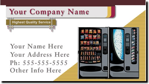 Snack and Soda Vending Route Business Cards | Vending Machine Business Cards