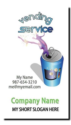 Soda Machine Vending Route Business Cards - Full Color Vertical Business Card Printing