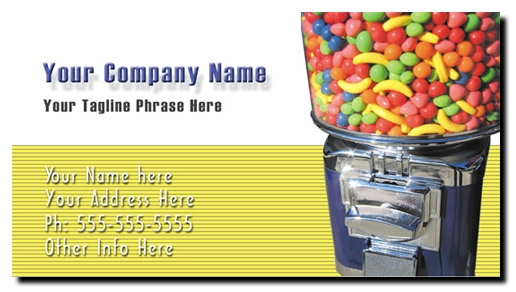 Candy Vending Business Cards - Full Color Bulk Candy Business Cards