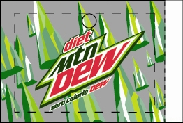 Large Diet Mountain Dew Line Art Flavor Drink Labels | Diet Mountain Dew Line Art Vending Machine Labels | Large Diet Mountain Dew Line Art Flavor Strips