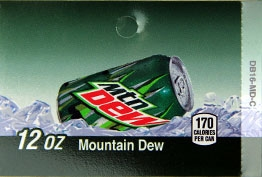 Large Mountain Dew Can Flavor Drink Labels | Large Vending Machine Strips