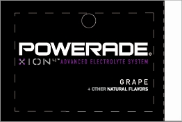 Large Powerade Ion Grape Line Art Flavor Drink Labels | Large Vending Machine Strips