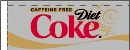 Small Caffeine Free Diet Coke Line Art Flavor Drink Labels | Small Vending Machine Flavor Strips