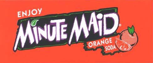 Small Minute Maid Orange Soda Line Art Flavor Drink Labels | Small Vending Machine Flavor Strips