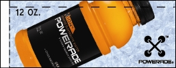 Small Powerade Ion Orange 12 oz. Bottle Flavor Drink Labels | Small Vending Machine Flavor Strips