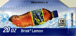Small Brisk Lemon Bottle Flavor Drink Labels | Small Vending Machine Flavor Strips