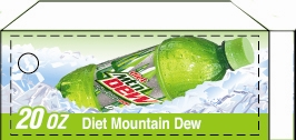 Small Diet Mountain Dew Bottle Flavor Drink Labels | Small Vending Machine Flavor Strips