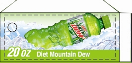 Small Diet Mountain Dew Side Kick Bottle Flavor Drink Labels | Small Vending Machine Flavor Strips