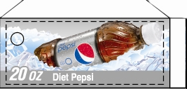 Small Diet Pepsi Bottle Flavor Drink Labels | Small Vending Machine Flavor Strips