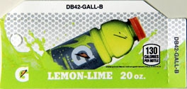 Small Gatorade Lemon Lime Bottle Flavor Drink Labels | Small Vending Machine Flavor Strips