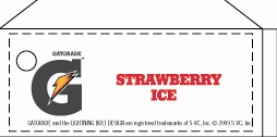 Small Gatorade Strawberry Ice Line Art Flavor Drink Labels | Small Vending Machine Flavor Strips